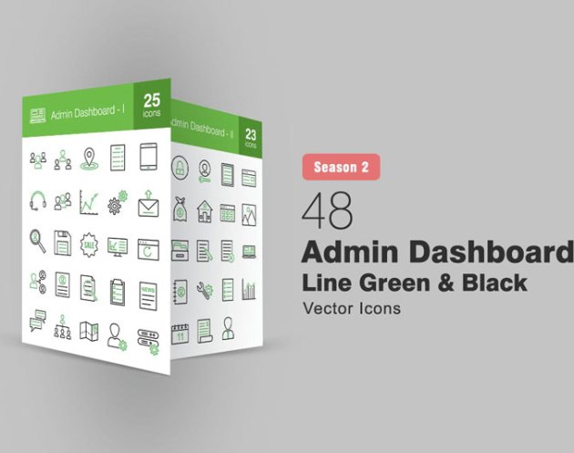 48 Admin Dashboard Line Green 2526 Black Icons S2