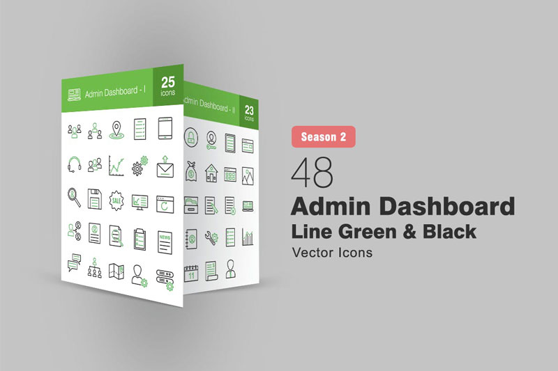 48 Admin Dashboard Line Green & Black Icons S2