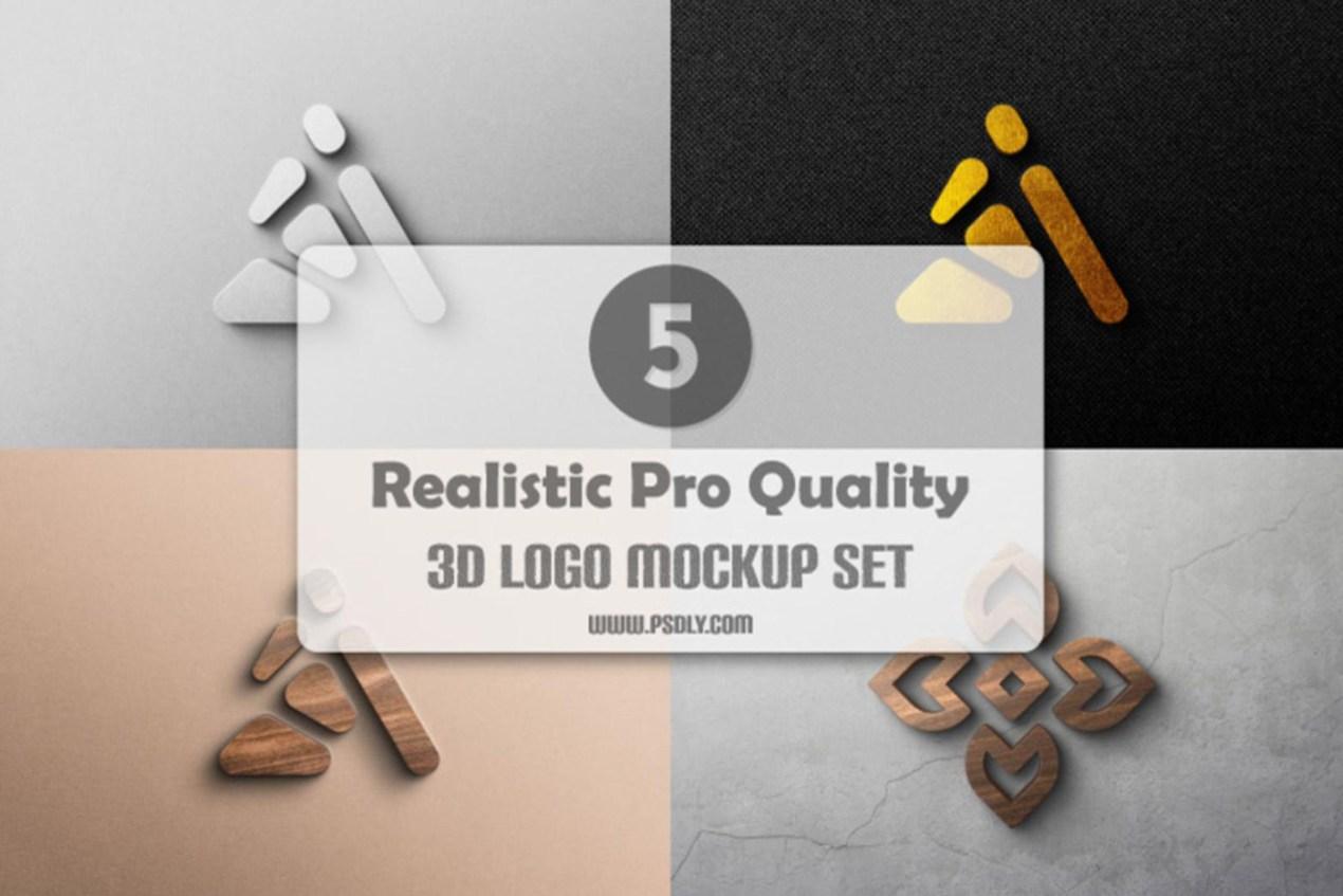 5 Realistic Pro-Quality 3D Logo Mockup Set