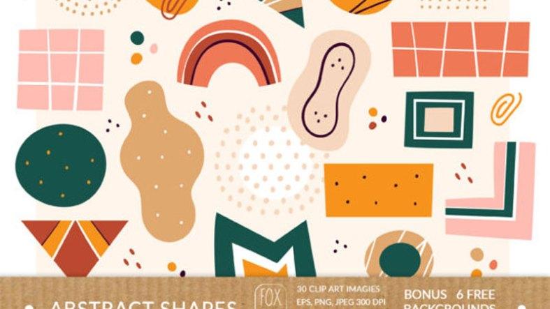 Abstract Shapes Clipart. Digital Prints