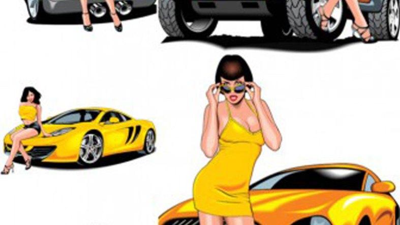 Hot Girl With Car Vector