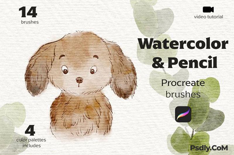 Watercolor&Pencil Procreate Brushes 4981247