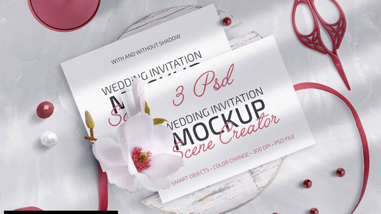 Wedding Invite Mockup Scene Creator 4981283