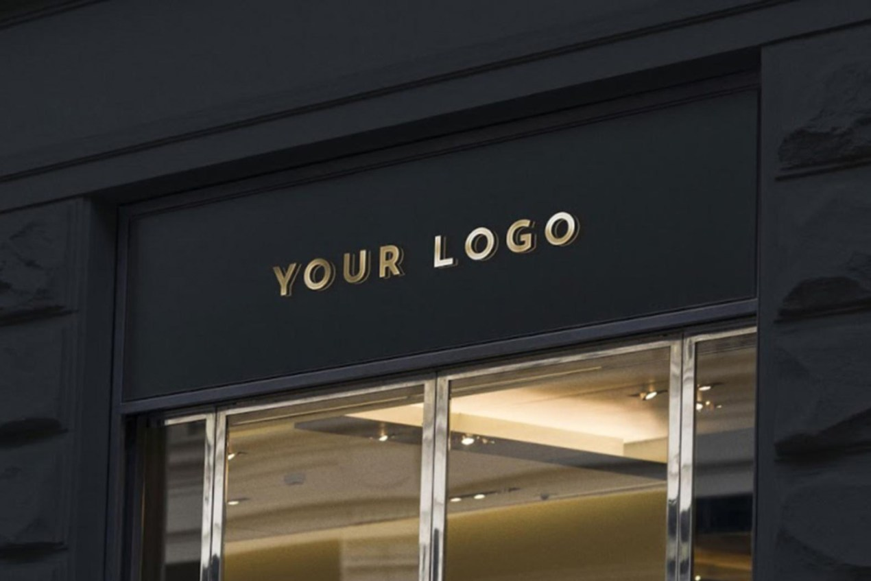 3D Wall Sign on Business Entrance Mockup