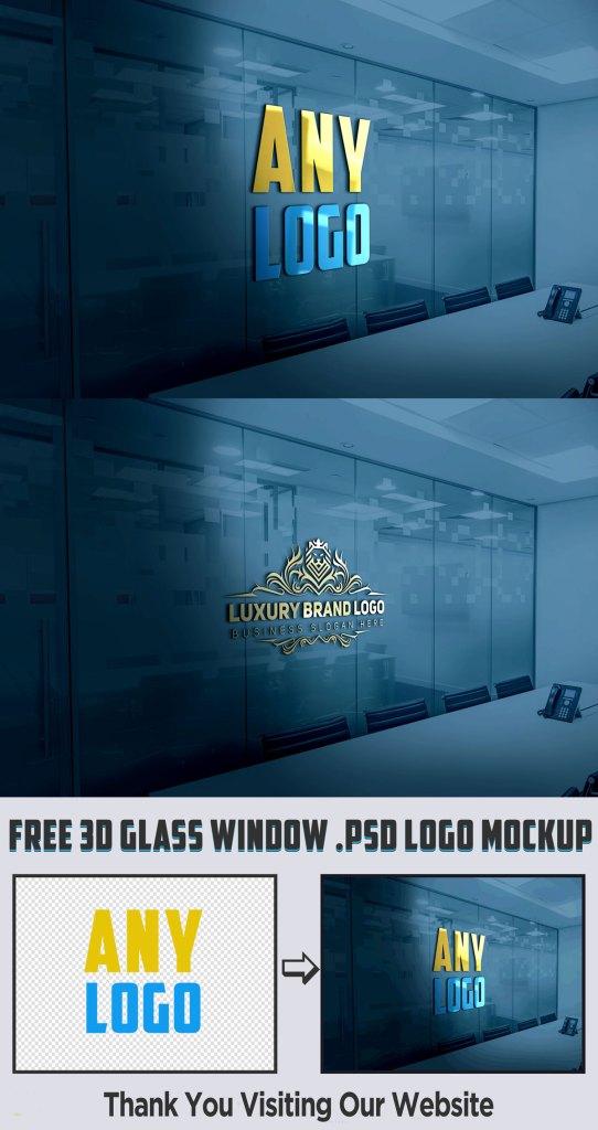 3D Glass Window PSD Logo Mockup Free Download