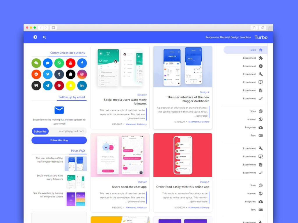 Material Design Blogger Template Free