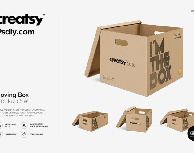 Moving Box Mockup Set 4036528