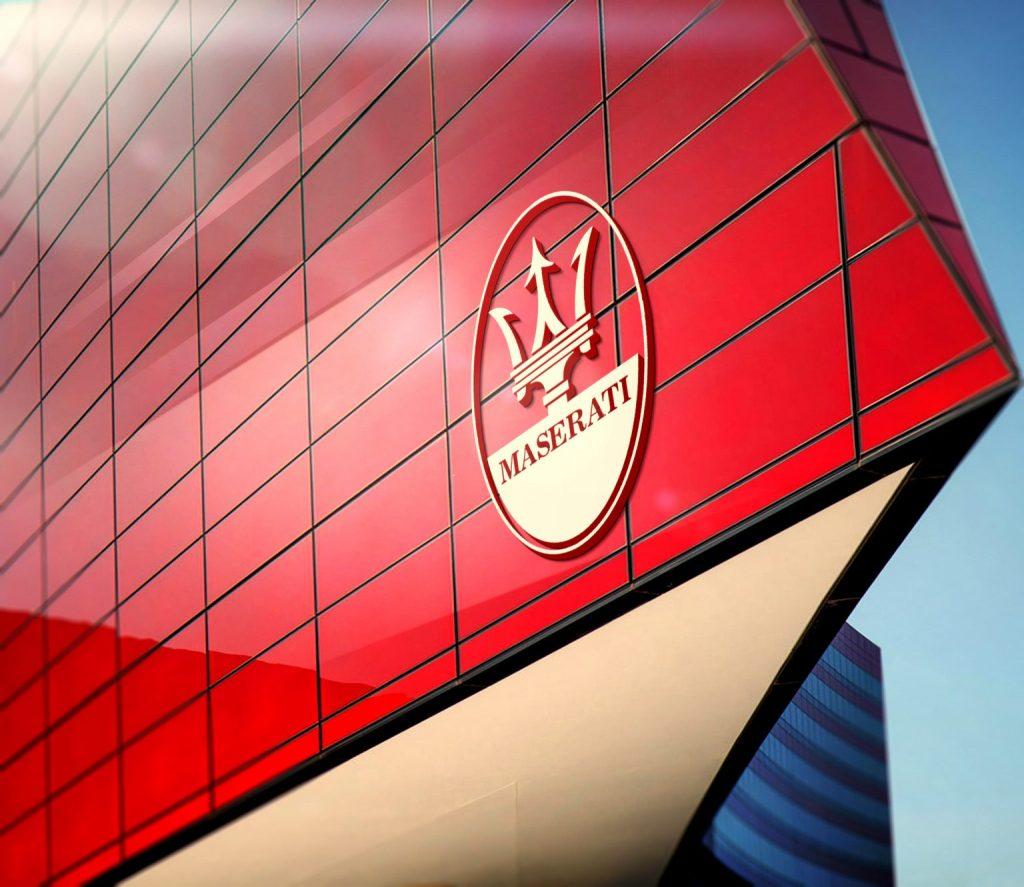 Maseratti Red Building Sky 3D Logo Mockup 1536x1331 1