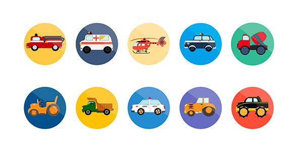 Videohive 10 Animated Transport Icons 8055981
