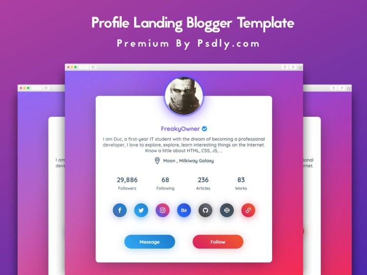 Profile Landing Blogger Template Premium Version Free Download
