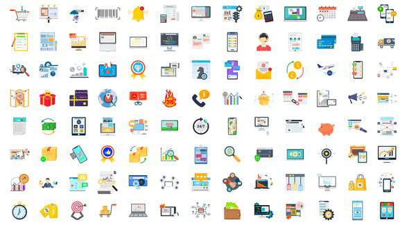 Videohive 100 Digital Marketing & E-Commerce Icons 28780374
