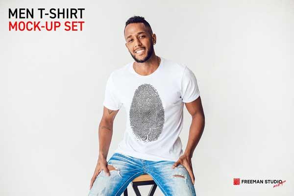 CreativeMarket - Men T-Shirt Mock-Up Set 5211187 Download