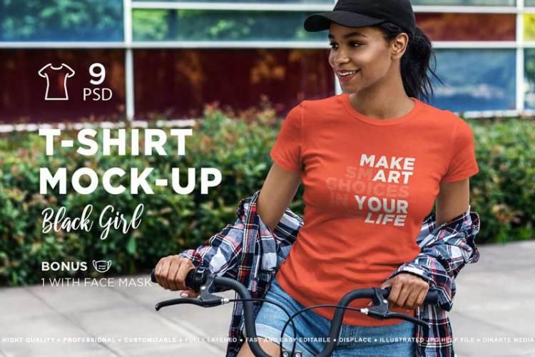 T-Shirt Mock-Up Black Girl LNGX5FV