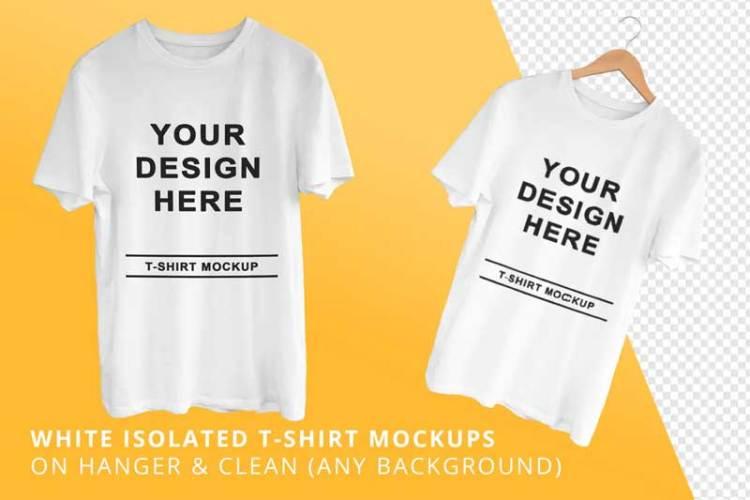 White Isolated T-Shirts Mockups 2F6PPK8