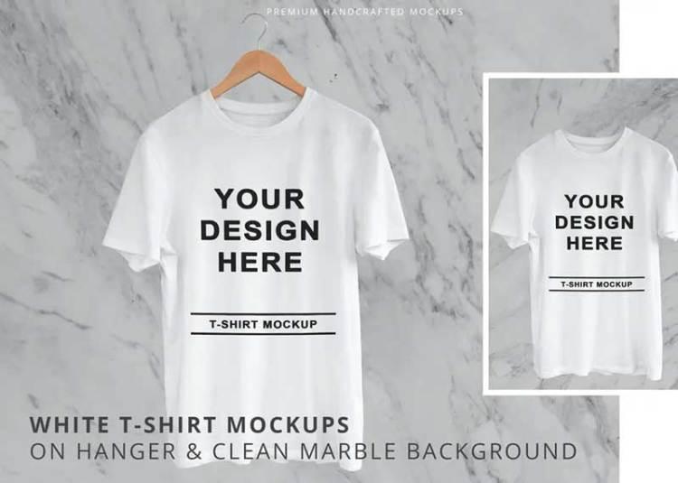 White T-Shirt On Hanger Marble Background Mockups