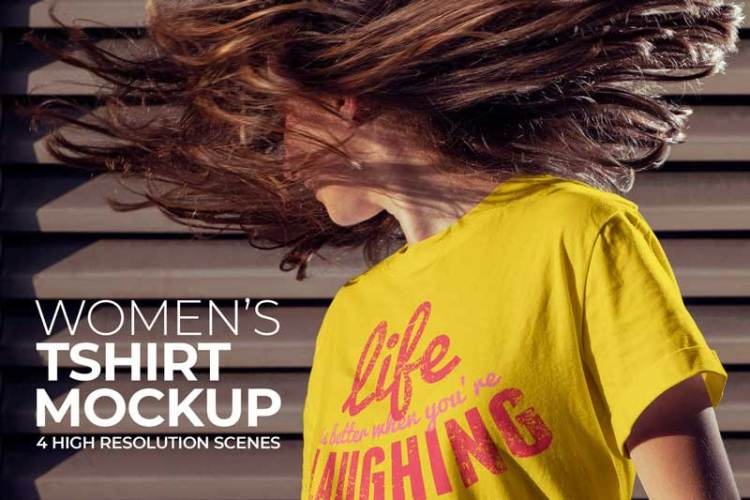 Women's T-shirt Mockup WCWZ2NV
