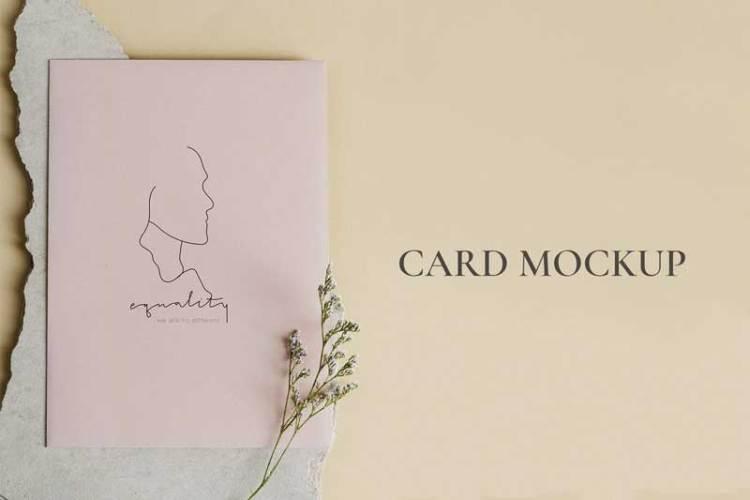 Pink blank business card mockup