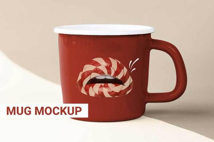 Red coffee mug mockup with cute lollipop lips