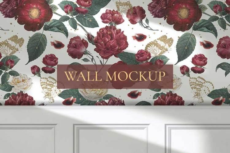 Red flower roses pattern psd wallpaper mockup