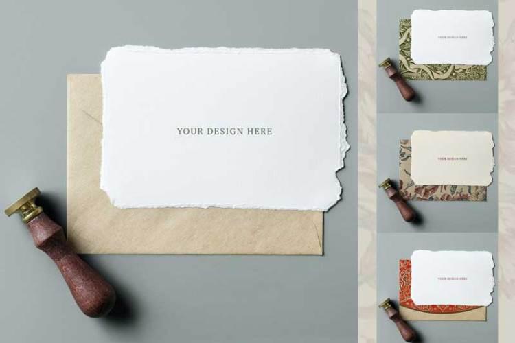 Vintage invitation card mockup design