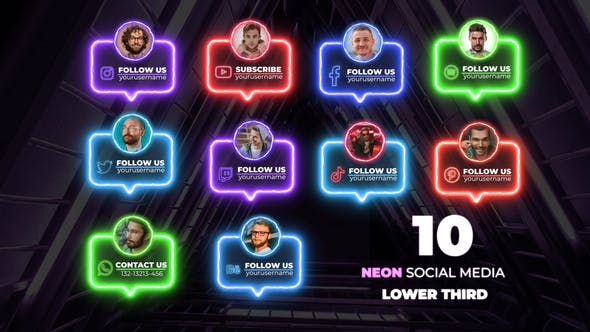 Videohive Neon Social Lower Thirds 33111083