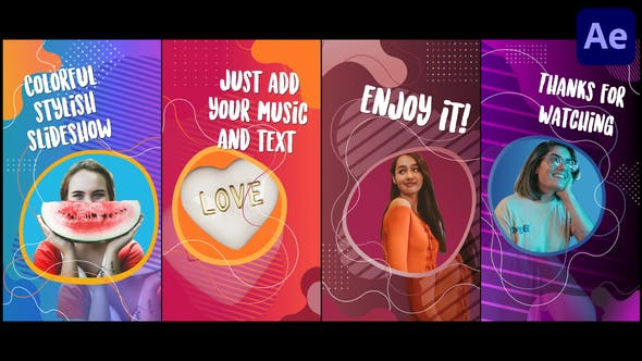 Videohive Colorful Social Media Slideshow After Effects 33335540