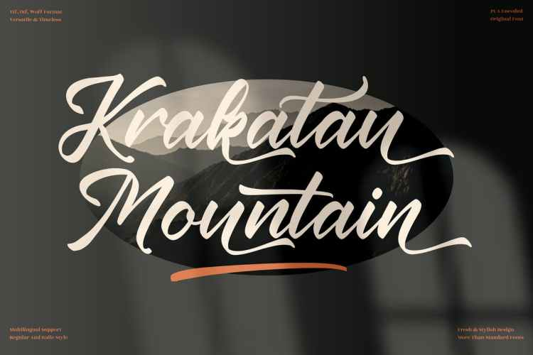 Krakatau Mountain Modern Script Fonts