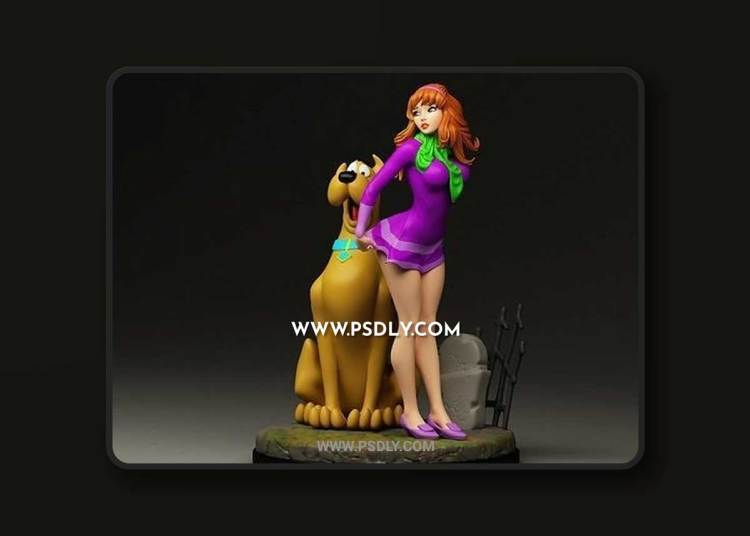 CGTRADER – DAPHNE AND SCOOBY-DOO DIORAMA 3D PRINT MODEL