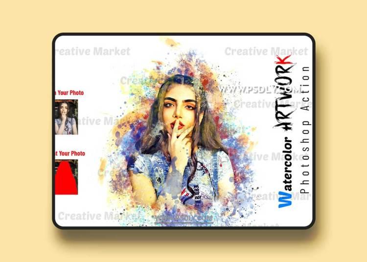 CreativeMarket - Watercolor Artwork Photoshop Action 6511078