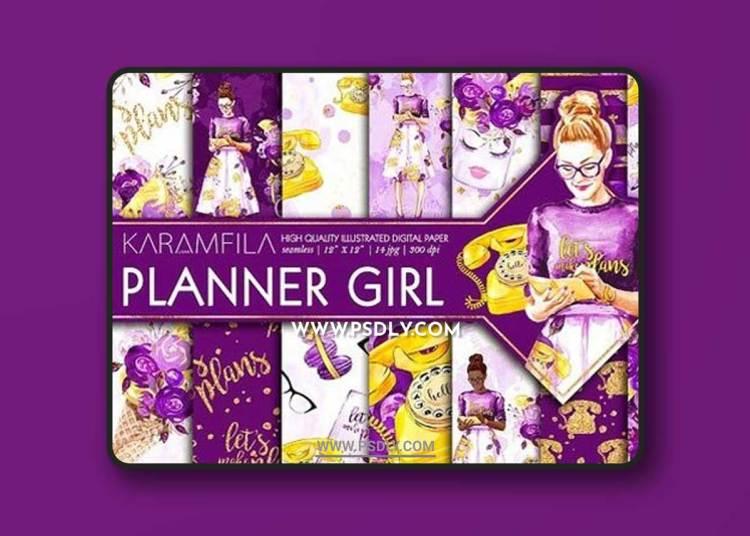 Planner Girl Digital Paper