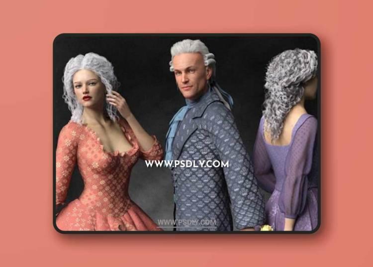 Regal Romance: Historical Pattern Iray Shader Presets 3D Models