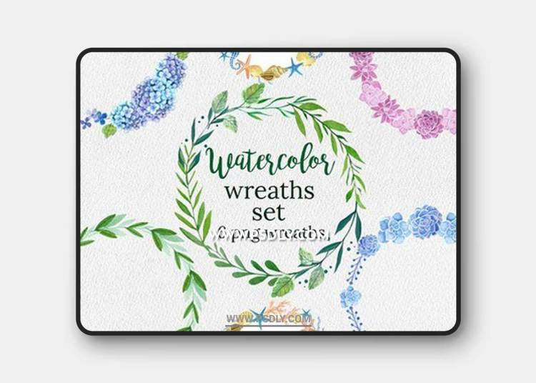 Watercolor Wreaths SetWatercolor Wreaths Set