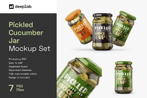 CreativeMarket - Pickled Cucumber Jar Mockup Set 5940784