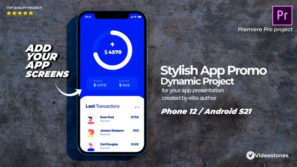 Videohive - Stylish Mobile App Promo - App Demonstration Video - 3d Mobile Mockup Premiere Pro - 33672763