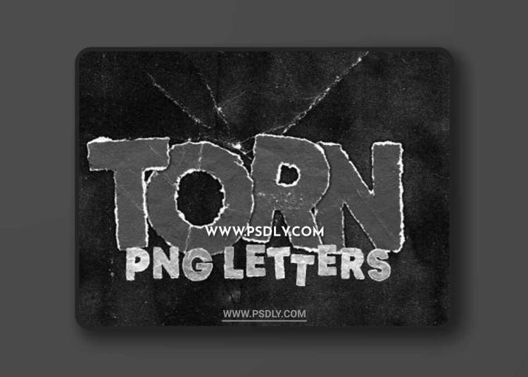 CreativeMarket - TORN PNG LETTERS PACK 6110497