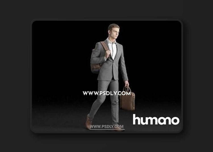 Elegant man walking with a briefcase and backpack 3D model