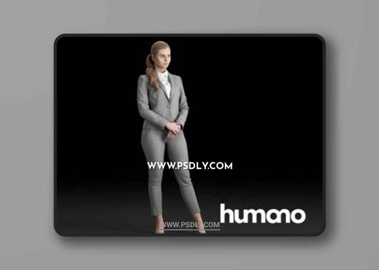Humano Elegant woman in gray suit with crossed arms 0312 3D model
