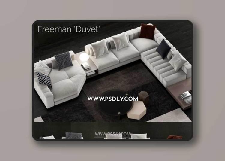 Minotti Freeman Duvet Sofa 3D Models