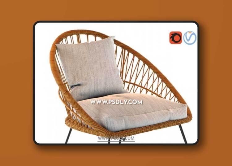 PINEAPPLE Resin Wicker Garden Armchair 3D Models