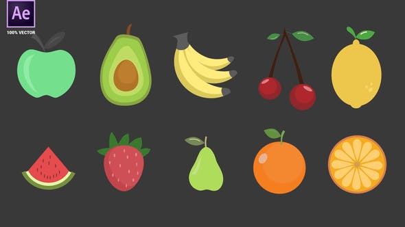 Videohive Fruits Icons Pack 34094961