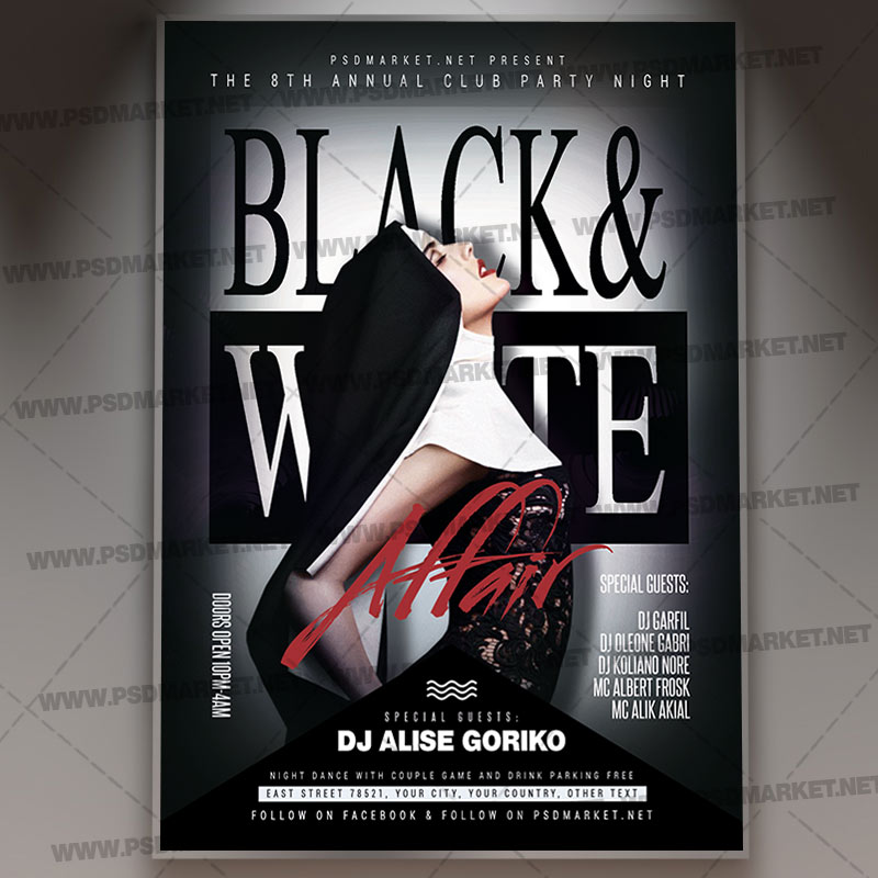 black and white flyer