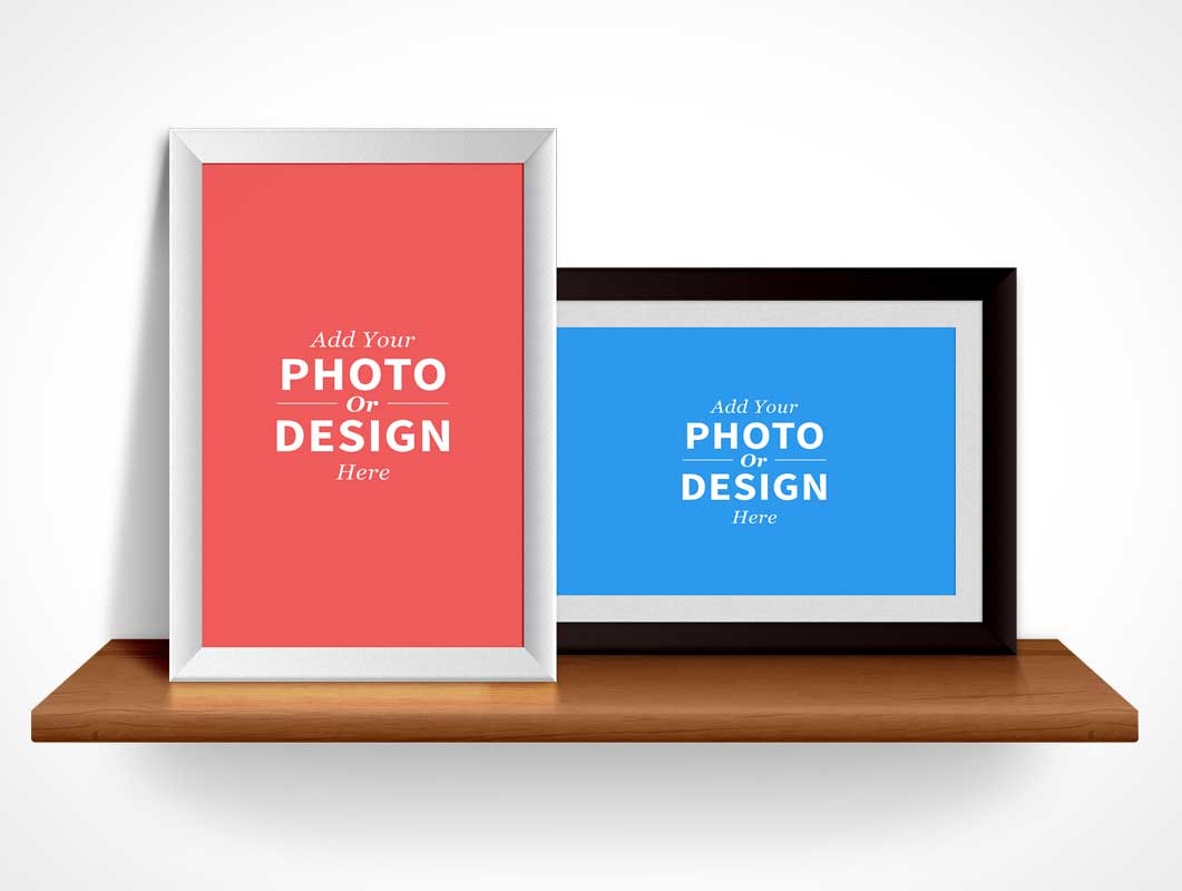 Photo Frames PSD Mockup Landscape and Portrait Mode  PSD