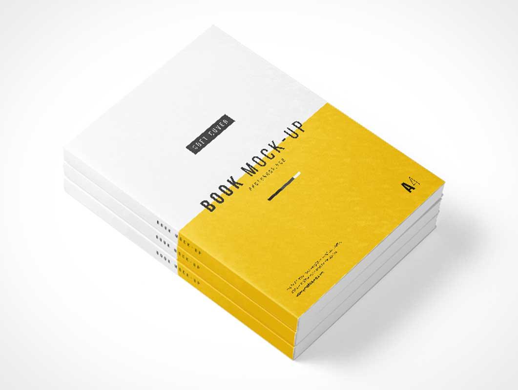 Download Photoshop A4 Book Stack PSD Mockup - PSD Mockups