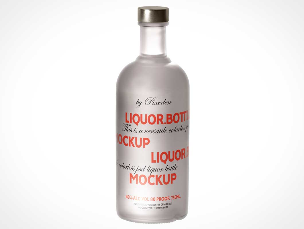 free psd mockups vodka bottle with wooden cap mockup studiomockups.com, display your design in a more efficient way on this mockup of a clear glass bottle with vodka. 750ml Vodka Glass Bottle Twist Cap Psd Mockup Psd Mockups