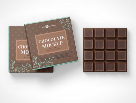 Download Square Chocolate Bar Snack & Box Packaging PSD Mockup ...