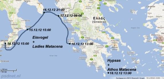 Route Matacena veerboten
