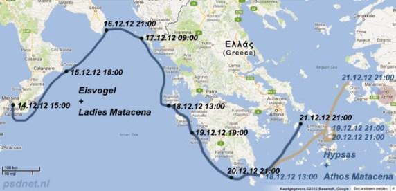 Route Matacena veerboten 21 december