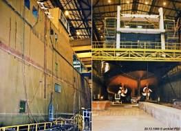 Een nog deels kleurloze veerboot krijgt vorm in de hal van scheepswerf De Schelde in Vlissingen.