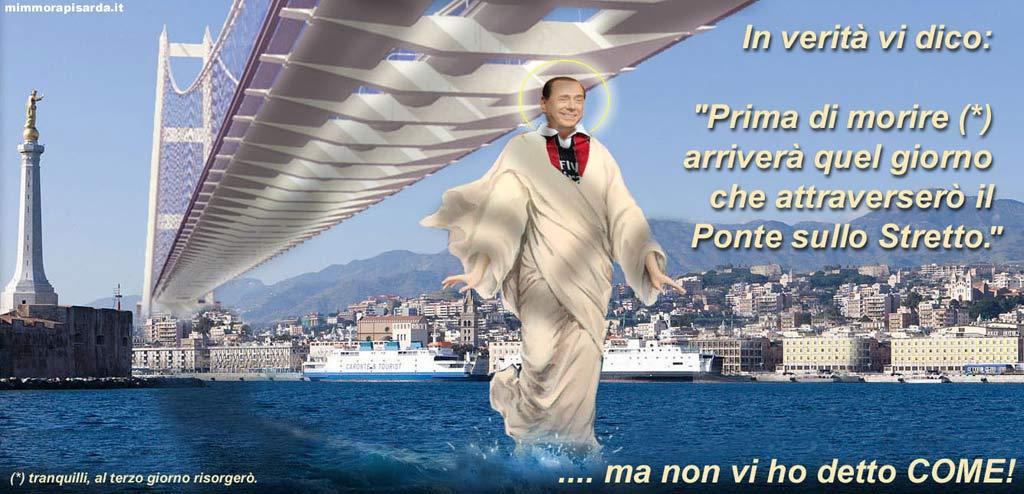 Een spotprent over Berlusconi's brug over de Straat van Messina.