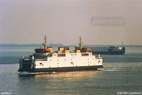 Hier zien we de nieuwe veerboot Prins Johan Friso tijdens de eerste weken in PSD-dienst.